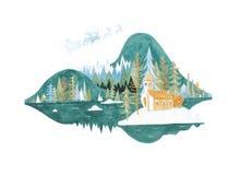 Gestileerd landschap met Kerstman Stock Fotografie
