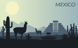 Gestileerd landschap van Mexico met een lama, cactussen en een oude piramide royalty-vrije illustratie