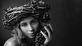 Gestileerd portret op het thema van wijnbereiding stock afbeeldingen