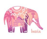 Gestileerd silhouet van de Indische olifant met de symbolen van India vector illustratie