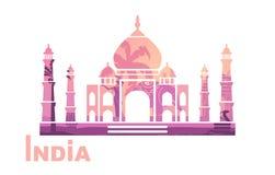 Gestileerd silhouet van Taj Mahal met de symbolen van India vector illustratie