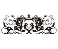 Gestileerd symmetrisch vignet met beren vector illustratie