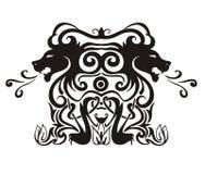 Gestileerd symmetrisch vignet met leeuwen Stock Afbeelding