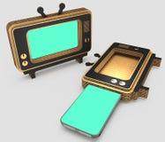 Gestileerd voor het oude TV-geval voor moderne smartphones 3D Illustratie Royalty-vrije Stock Foto