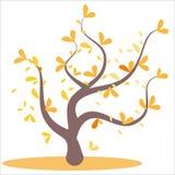 Gestileerde abstracte de herfstboom Bladeren op de takken, oranje boom Gele en oranje bladeren op de boom, bladeren op de takken, stock illustratie