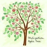 Gestileerde appelboom met eenzame geheimzinnige vruchten Vector Royalty-vrije Stock Foto's
