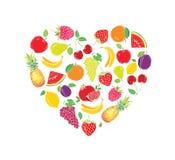 Gestileerde beelden van vruchten in de vorm van een hart vector illustratie