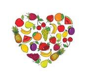 Gestileerde beelden van vruchten in de vorm van een hart Vector illustratie vector illustratie