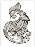 Gestileerde beeldverhaalhaan of haan Hand getrokken schets voor volwassen kleurende pagina royalty-vrije illustratie