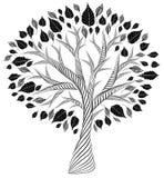 Gestileerde boom De tekening van het potlood Silhouet Grafische arts. Royalty-vrije Stock Afbeeldingen