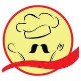 Gestileerde Chef-kok met Hoed en Banner royalty-vrije illustratie