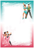 Gestileerde dansende paren helder verticaal kader Royalty-vrije Stock Foto