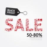 Gestileerde de Pictogrammen van de verkoopkorting Black Friday die Prijskaartje B adverteren Stock Foto