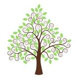 Gestileerde die boom op witte achtergrond wordt geïsoleerd Stock Foto's