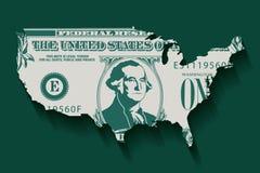 Gestileerde dollarrekening in de vorm van Amerika vector illustratie