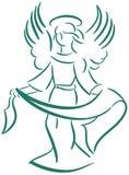 Gestileerde geïsoleerde Engel in groen vector illustratie