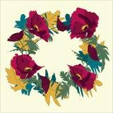 Gestileerde grafische bloemkroon met papaver en kleurrijke bladeren Royalty-vrije Stock Afbeeldingen