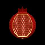 Gestileerde granaatappel met veelhoekstructuur Royalty-vrije Stock Afbeelding