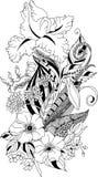 Gestileerde illustratie van het kleuren van veer met iris en chrysant in de stijl van de verwarringskrabbel vector illustratie