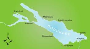 Gestileerde kaart van het Meer van Konstanz en omgeving royalty-vrije stock foto's