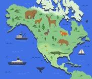 Gestileerde kaart van Noord-Amerika met inheemse dieren en aardsymbolen Eenvoudige geografische kaart Vlakke vector Royalty-vrije Stock Foto
