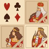 Gestileerde karakters van kaartspels royalty-vrije illustratie
