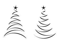 Gestileerde Kerstbomen - zwarte Royalty-vrije Stock Afbeeldingen
