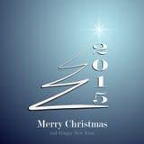 Gestileerde Kerstboom op decoratieve blauwe achtergrond Stock Foto