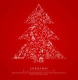 Gestileerde Kerstmisboom op rode rug stock illustratie