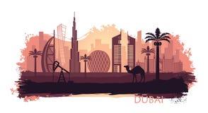 Gestileerde kyline van Doubai met kameel en dadelpalm met vlekken en plonsen van verf Verenigde Arabische emiraten royalty-vrije illustratie