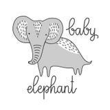 Gestileerde leuke babyolifant geïsoleerde vectorillustratie Het malplaatje van Nice voor babydouche, kindalbum en plakboek Hand Royalty-vrije Stock Afbeelding