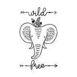 Gestileerde leuke olifant geïsoleerde vectorillustratie met wild en vrij citaat Het malplaatje van Nice voor babydouche, kindalbu Royalty-vrije Stock Foto