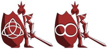 Gestileerde middeleeuwse ridder met symbool van oneindigheid en triquetra royalty-vrije illustratie