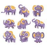 Gestileerde Olifant met Gestippelde Patroonreeks Kinderachtige Stickers of Drukken van Vriendschappelijk Toy Animal In Violet Stock Afbeelding