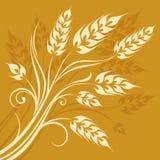 Gestileerde oren van tarwe op geel Royalty-vrije Stock Fotografie