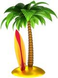 Gestileerde palm en surfplank Stock Fotografie