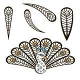 Gestileerde pauw met luxueuze staarten Royalty-vrije Stock Foto
