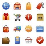 Gestileerde pictogrammen. Het winkelen. Stock Afbeeldingen