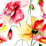 Gestileerde Rode bloemenillustratie Stock Afbeeldingen