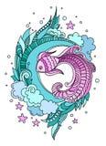 Gestileerde samenstelling van vissen onder zeewier op een witte achtergrond vector illustratie