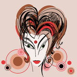 Gestileerde schets van meisje met rood haar stock illustratie