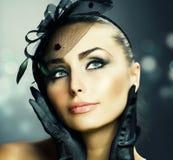 Gestileerde schoonheid Portrait.Vintage stock foto's