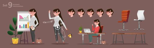 Gestileerde set van tekens voor animatie De beroepen van het vrouwenbureau stock illustratie