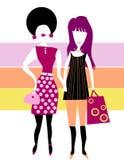 Gestileerde siluettes-twee vrienden Stock Afbeelding
