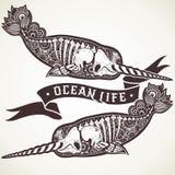 Gestileerde skeletnarwal royalty-vrije illustratie
