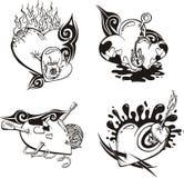 Gestileerde Tatoegeringen met Harten Stock Afbeelding