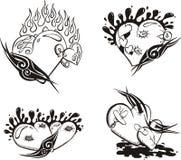 Gestileerde Tatoegeringen met Harten Royalty-vrije Stock Afbeelding