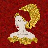 Gestileerde vectorillustratie van een mooie geisha Royalty-vrije Stock Foto's