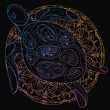 Gestileerde vectorzeeschildpad lineair art. Het trekken door hand Zoogdieren van de oceaan af:drukken vector illustratie