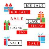 Gestileerde verkoopstickers van Grote Verkoop, Black Friday en Tweede kerstdag Pop-art hand-drawn reeks vector illustratie